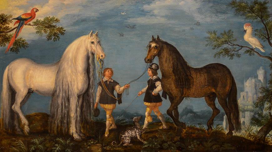 Roelandt Savery - Twee paarden en palfreniers - Broelmuseum
